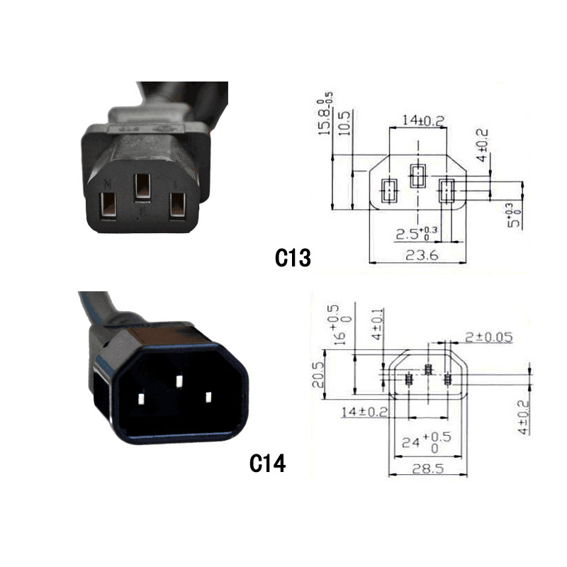 0 6M Extension Cord IEC 320 C14 Male Plug to 4XC13 Female Y Type Splitter Power Cord C14 to 4 x C13 250V 10A in Plug With Socket from Consumer Electronics