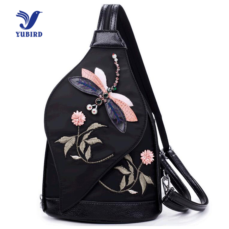YUBIRD Fashion 3D Embroidery Women Leather Waist Bags Printing Back pack Oxford Chest Bag Small Women