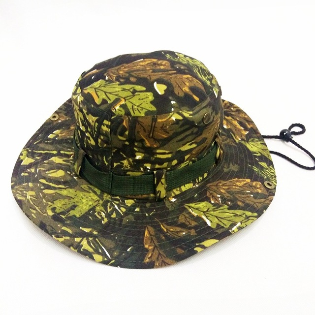 efbc1896b59 Mens Camo Bonnie Hat Rainproof Army Sun Visor Caps Cowboy Western Montana  Round Hats Marine Corps Combat Real CS Camouflage Hat