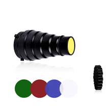 CY SN02 Metal Conical Snoot with Honeycomb Grid 5pcs Color Filter Kit for Bowens Mount Studio Strobe Monolight Photography Flash
