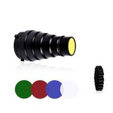 CY SN02 Metal Konik petek ızgaralı yüzey 5 adet Renk filtre kiti için Bowens Dağı Stüdyo Strobe Monolight Fotoğraf Flaş