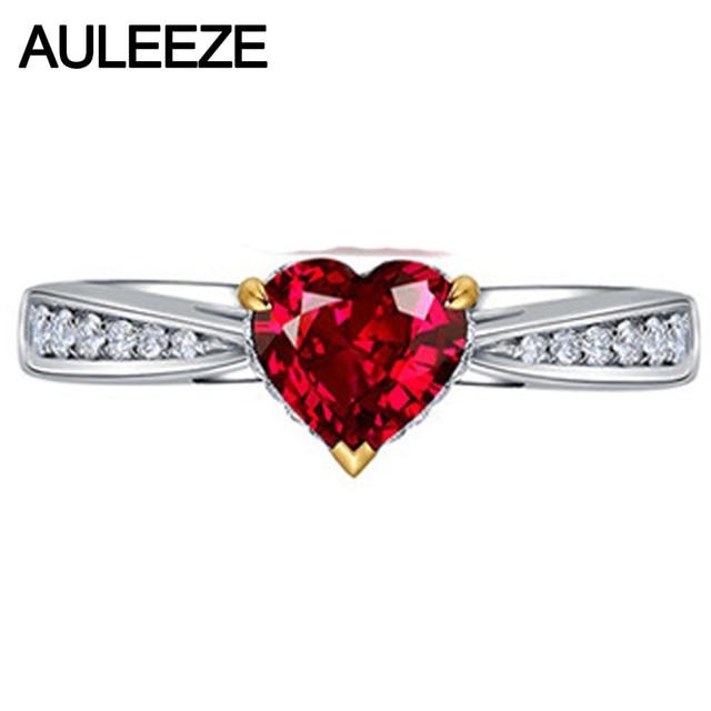Сердце форма 1,5 карат синтетический Рубин обручение кольцо в Solid 14 К к  585 2b246d60558