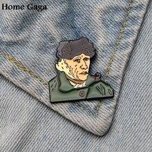 Homegaga Van gogh Self portrait Sunflowers ear Pins for men women para Shirt Charm Clothes backpack medal Badges Brooches