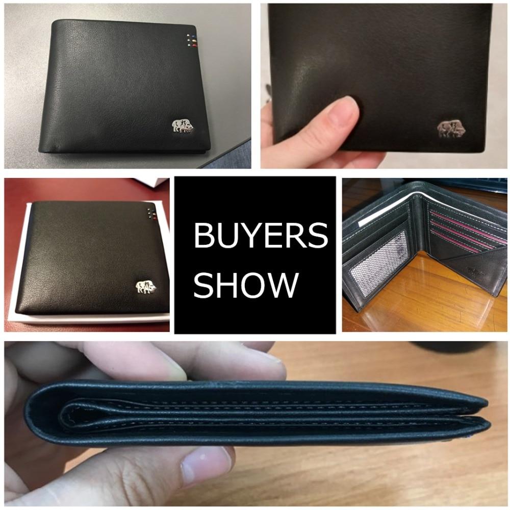 BISON DENIM Business Casual Wallet Män Top Layer Äkta Läder Purses - Plånböcker - Foto 5