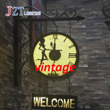 Z British vintage Industrial style Iron Clock Welcome wall lamp Cafe Bar Restaurant Sign custom light free shipping