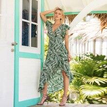 Women Summer Casual Short Sleeve Evening Party Long Dress Flower Ruffles V-Neck Green Asymmetrical Vestidos