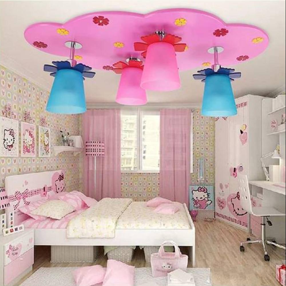 wooden child lighting ceiling Cartoon bedroom light romantic Acryli Led ceiling lights kids 110V-220V flush mount ceiling light