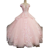Ball Gown Scoop Neck Floor Length 3D Flower Appliques Silver Beaded Real Made Floor Length Pink Romantic Evening Dress Prom Gown