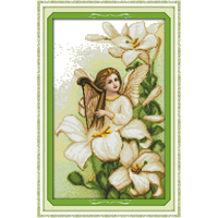 Joy sunday Lily Angel Chinese cross stitch kits Ecological cotton clear stamped printed 14 11CT DIY wedding decoration for home