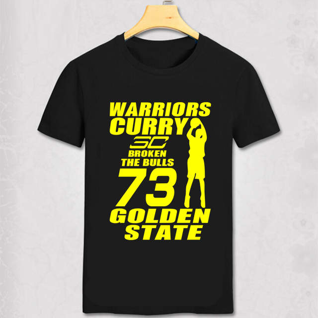 low priced ff636 bf0fd US $10.01 9% OFF The warriors Stephen Curry cartoon t shirt 73 winning  streak design men's t shirt jersey O neck short sleeve Tees-in T-Shirts  from ...