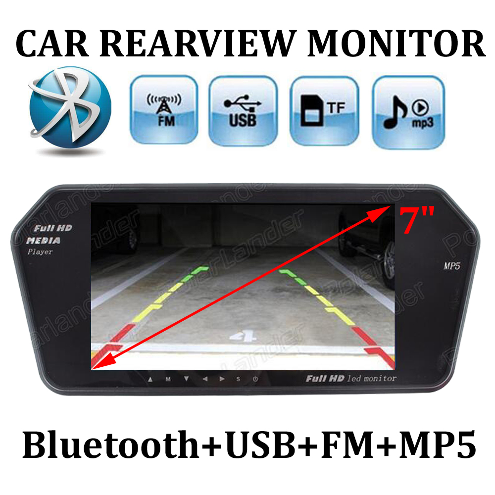 7 Inch TFT LCD Car Rear View mirror Monitor MP5 Auto Vehicle Parking Monitor Bluetooth/SD/USB For Reverse Camera 2 AV IN car monitor 2 av input 7 inch hd tft lcd car sunscreen rear view reverse monitor for vehicle reversing camera dc 12v 24v