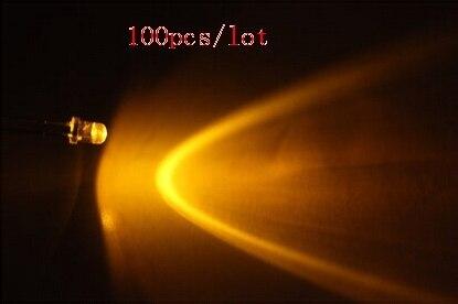 """100 יח\חבילה מים ברור דרך חור 3 מ""""מ צהוב נר מהבהב LED דיודה"""