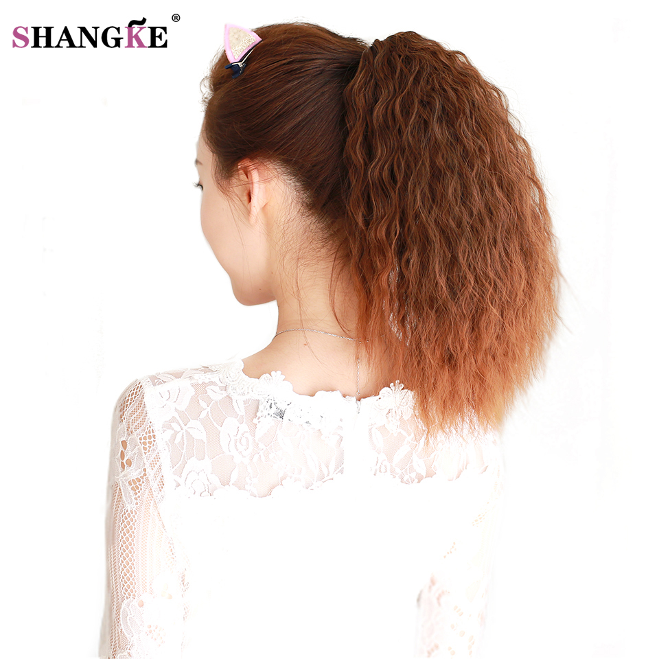 Shangke Long Kinky Curly Ponytail For Black Women Wine Red -1031