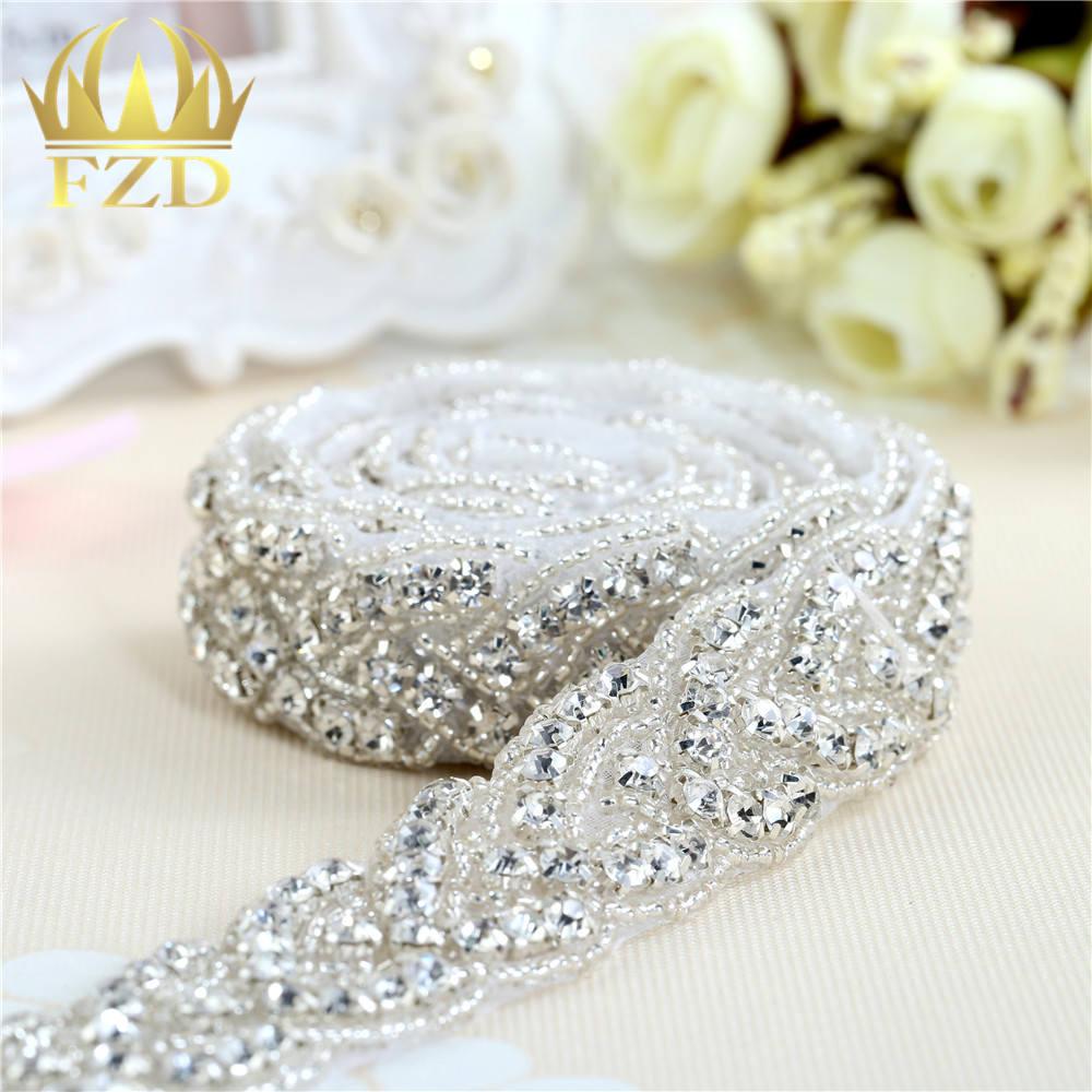 1 Yard Sewing Hotfix Crystal Beaded Rhinestone Applique Bridal Dresses trim  sash For wedding decoration 2344150d1dd5