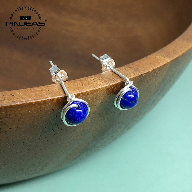 Lapis lazuli Stud earrings handmade Minimalist Blue Stud Wire Wrapped Earrings earring Bridesmaid Gifts ...
