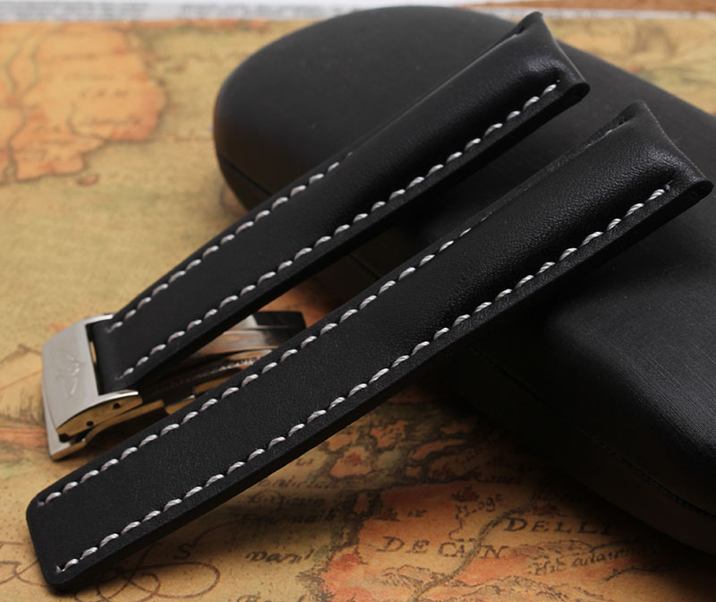 22mm 24mm New Smooth Black cowhide High Quality Genuine Leather Watch Band Straps Silver Steel Clasp Buckle For BRAND hours men new 24mm italy black genuine leather watch band strap silver brushed stainless steel buckle clasp for brand free shipping