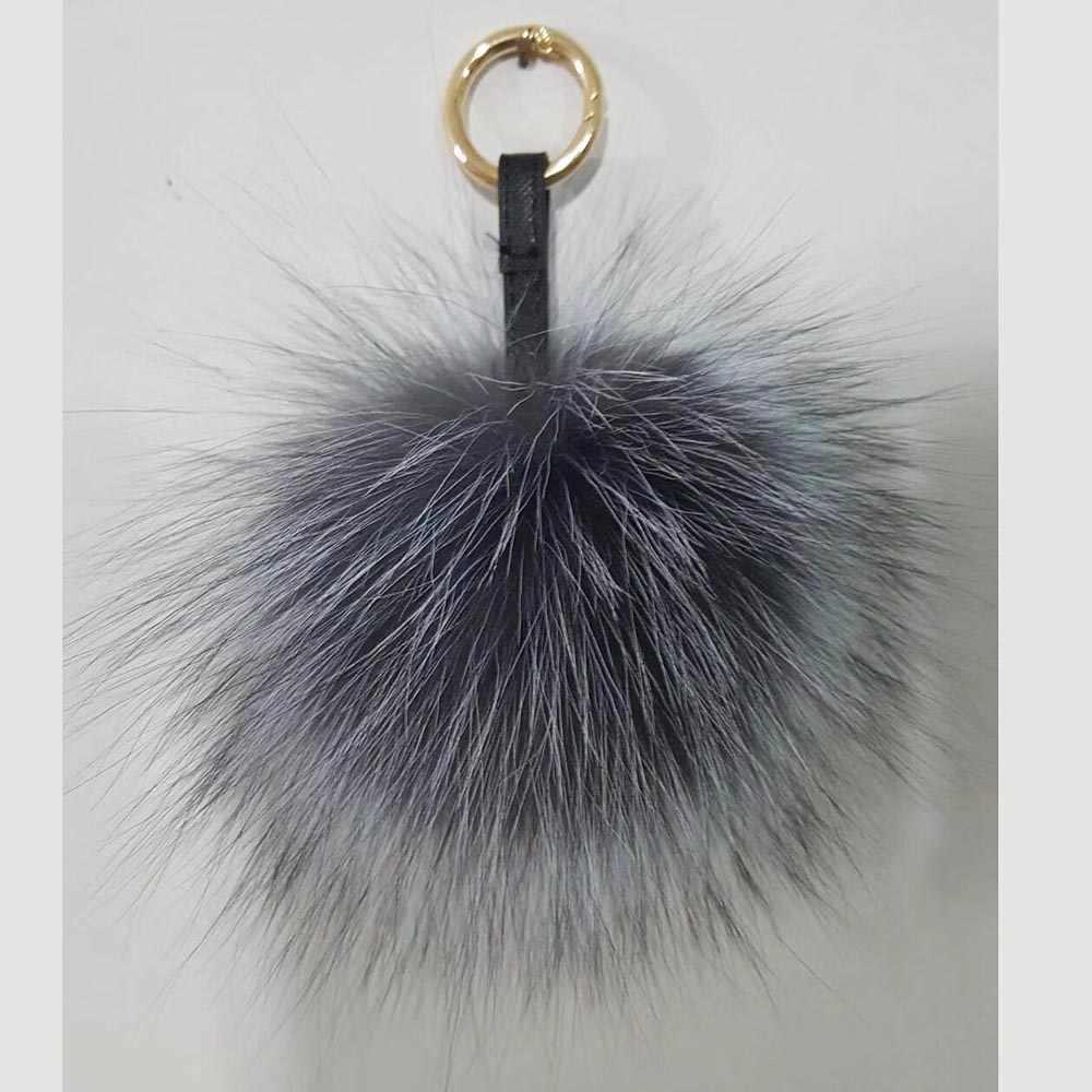 Pompons De Peles naturais Charme Saco Pompom de Pele De Raposa de Prata Charme Real Fur Keychain venda Fábrica Custom made