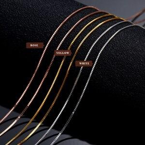 Image 5 - 18k זהב טהור שרשרת עלה לבן צהוב אמיתי נשים בסדר פשוט Slim דק שרשרות מכירה לוהטת מתאים לכל תליון אופנתי חדש