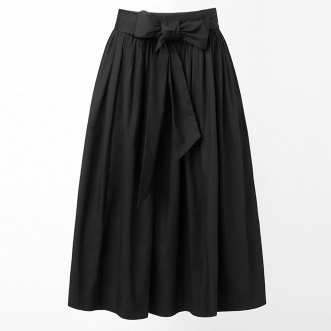 40-летние женские винтажные 50 s Одри Хепберн Высокая талия с бантом Пышная юбка в черном Рокабилли Юбки большого размера saias femininas saia - Цвет: black