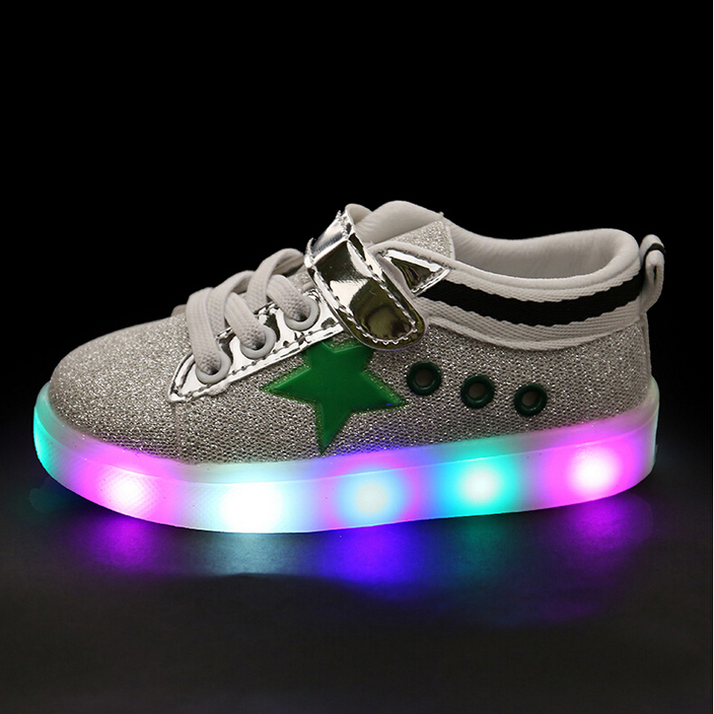 Children Shoes Led Light Up Baby Hook Loop Boys Girls Luminous Shoes Glowing Fashion Sneakers