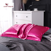 цена на SlowDream Rose Red 100% Nature Mulberry Satin Silk Pillowcase Wholesale Queen King 19 Color Silky Pillow Case For Women Men