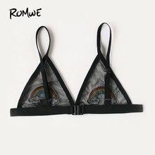 ROMWE 2019 arco bordado apliques de malla de triángulo sujetador mujer nueva liso negro lindo y lencería Sexy