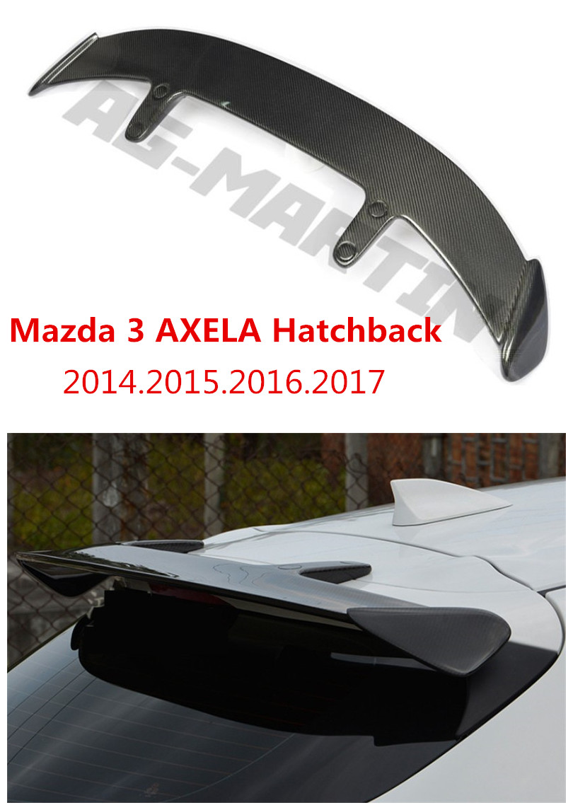 HLONGQT Carbon fiber /ABS Resin Spoiler For Mazda 3 AXELA Hatchback 2014 2017 High Quality Car Spoilers Auto Accessories