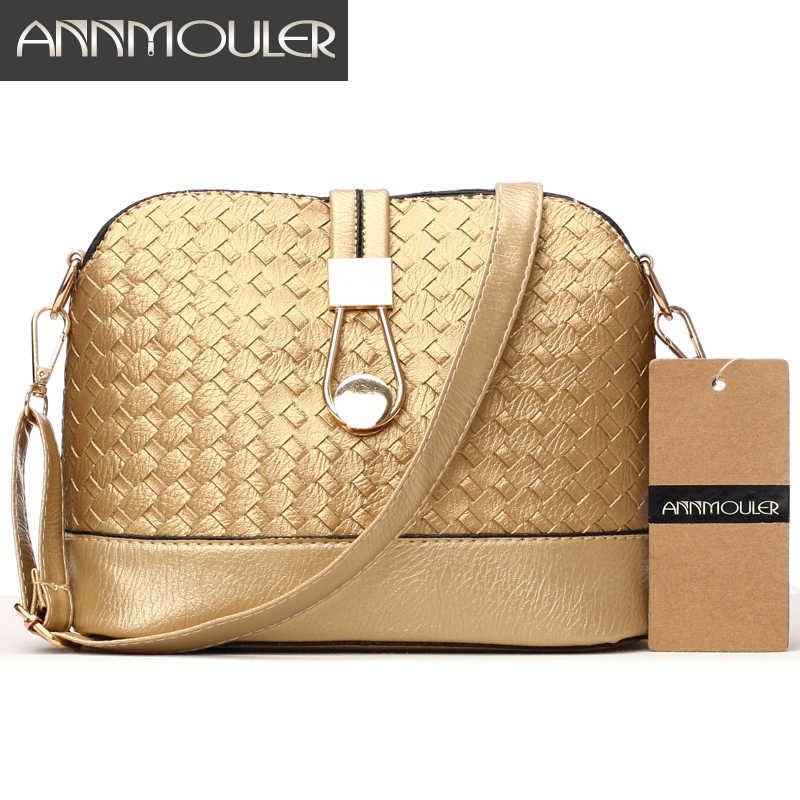 Annmouler Designer Vrouwen Schoudertas Breien Kleine Tas Pu Lederen Crossbody Tas Goud Zilver Shell Messenger Bag