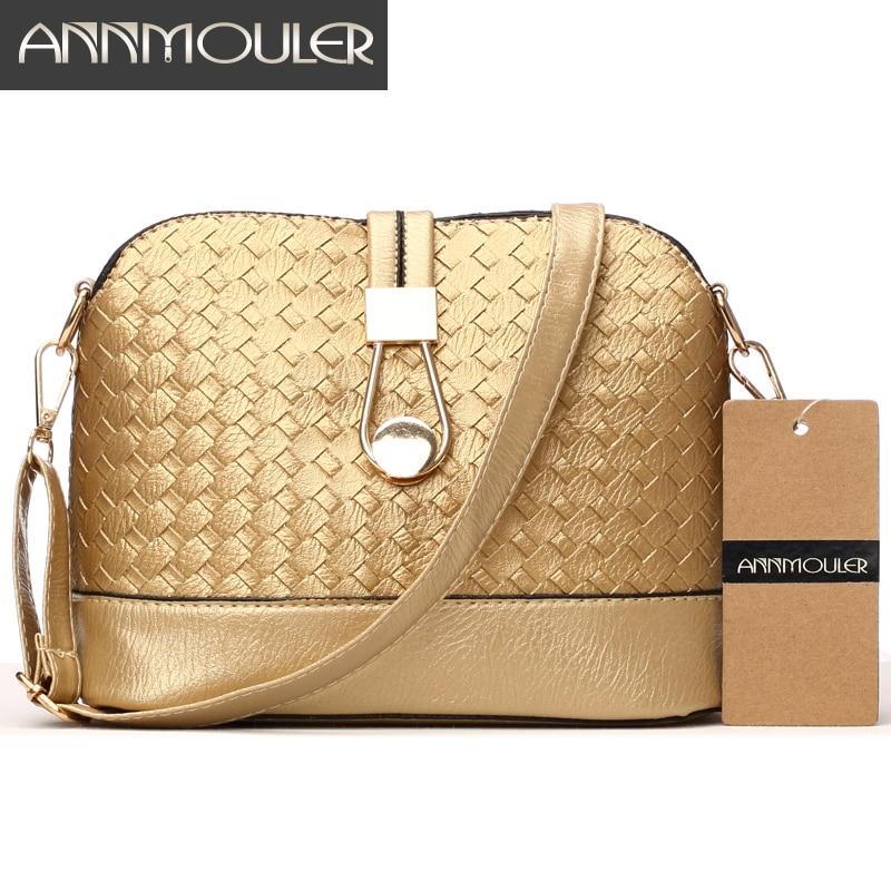 Annmouler Designer Women Shoulder Bag Knitting Small Bag Pu Leather Crossbody Bag Gold Silver Shell Messenger Bag