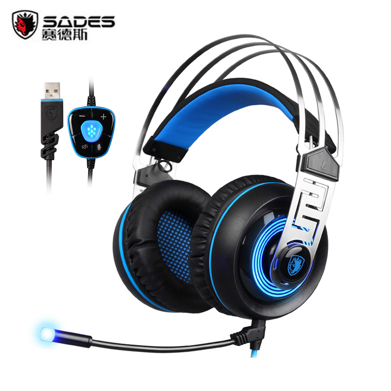 2017 SADES A7 USB 7.1 Surround Sound stereo Gaming Headset Wired Gaming Headphone Best casque With Mic LED For PC Laptop Gamer g1100 3 5mm pro gaming headset headphone for ps4 laptop crack pattern led led blue black red white