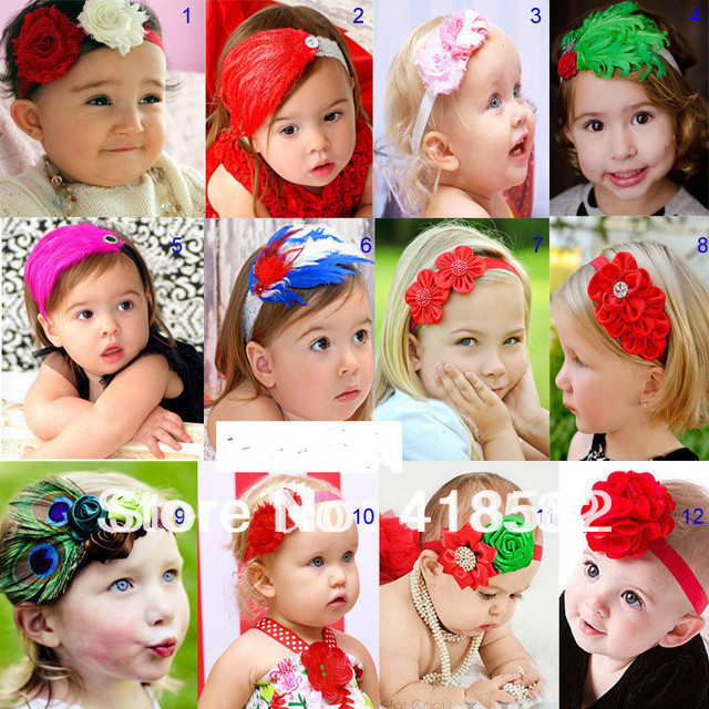 12 styles new fashion beautiful colorful baby Feather headbands Designed for photography Hair accessories free shipping