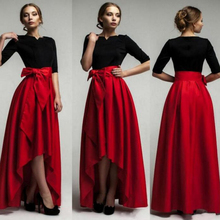 Elegant Red High Low Taffeta Skirt Personalized Pleat Floor Length Long Skirt with Big Bow 2017 Fashion American Apparel