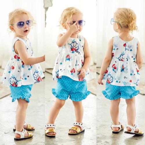 >Mermaid Kids Baby Girls Sleeveless Tops <font><b>Blouse</b></font> <font><b>Shorts</b></font> <font><b>Pants</b></font> Outfits Clothes Set