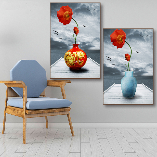 Modern Art Posters and Prints Wall Art Canvas Painting Red Flower in Vase Decorative Picture For Living Room Home Decor No Frame