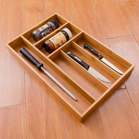 5 Grid Bamboo Drawer Organizer Kitchen Cutlery Storage Box Sundries Tray Household Practical Accessories