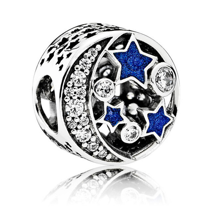 925 Sterling Silver Bead Vintage Night Sky Openwork Charm Fit Original Pandora Bracelets Bangles Women DIY European Jewelry Gift in Beads from Jewelry Accessories