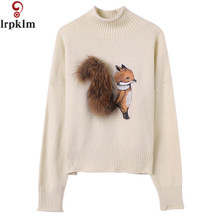 Women Sweaters 2017 Winter Turtleneck Pullovers New Brand Casual Loose Stylish Squirrel Sweater Fashion Knit Sweater