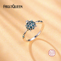 FirstQueen Solid Silver 925 Turtle Ring For Wedding Engagement Jewelry Fashion Rings With Blue Stone Factory
