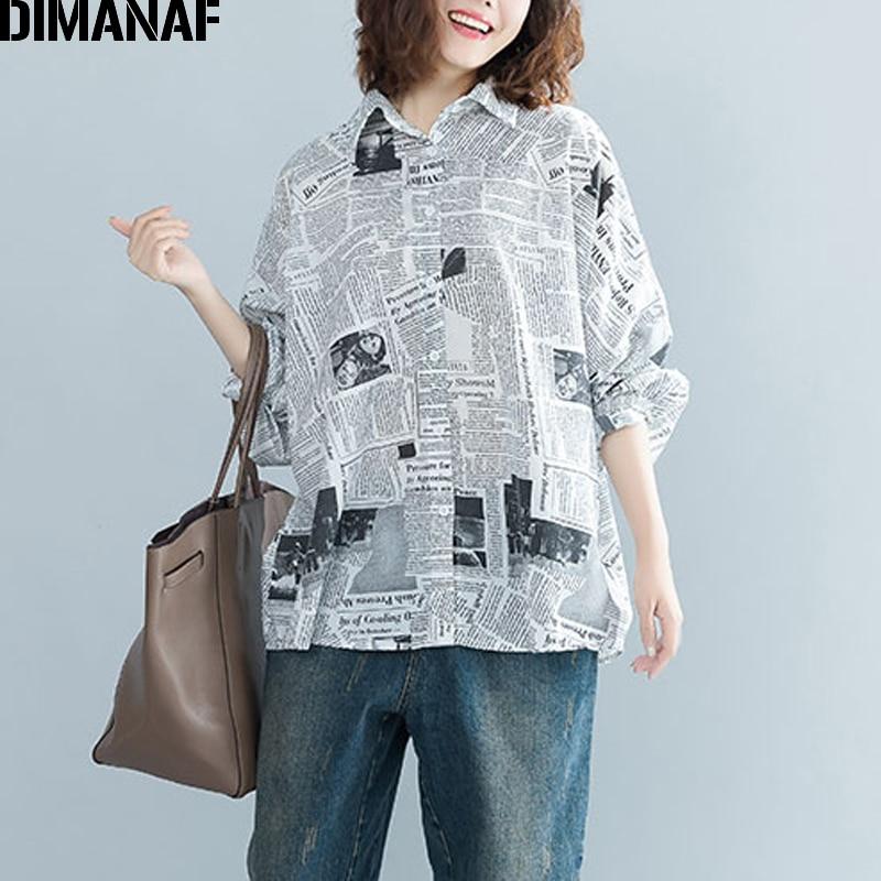 DIMANAF Women Blouse Shirt Female Clothes Plus Size Tops Print Loose Vintage Batwing Sleeve Cardigan Oversized Tunic 2019 Autumn