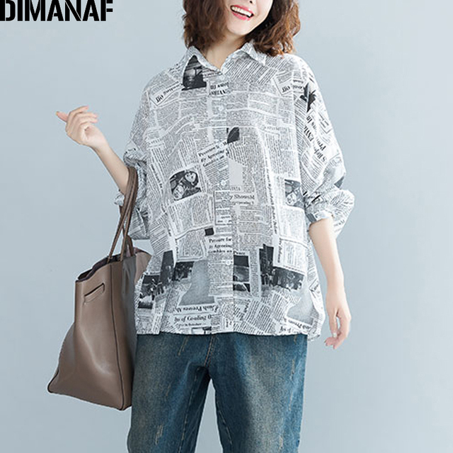 fc2378a70a0 DIMANAF Women Blouse Shirt Female Clothes Plus Size Tops Print Loose  Vintage Batwing Sleeve Cardigan Oversized Tunic 2018 Autumn