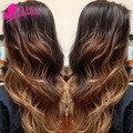 Brazilian Loose Wave Virgin Hair 3 Tone Ombre 1b 4 27 30 Blonde Human Hair Weave Bundles Brazilian Loose Wave Ombre Hair 3 Pcs