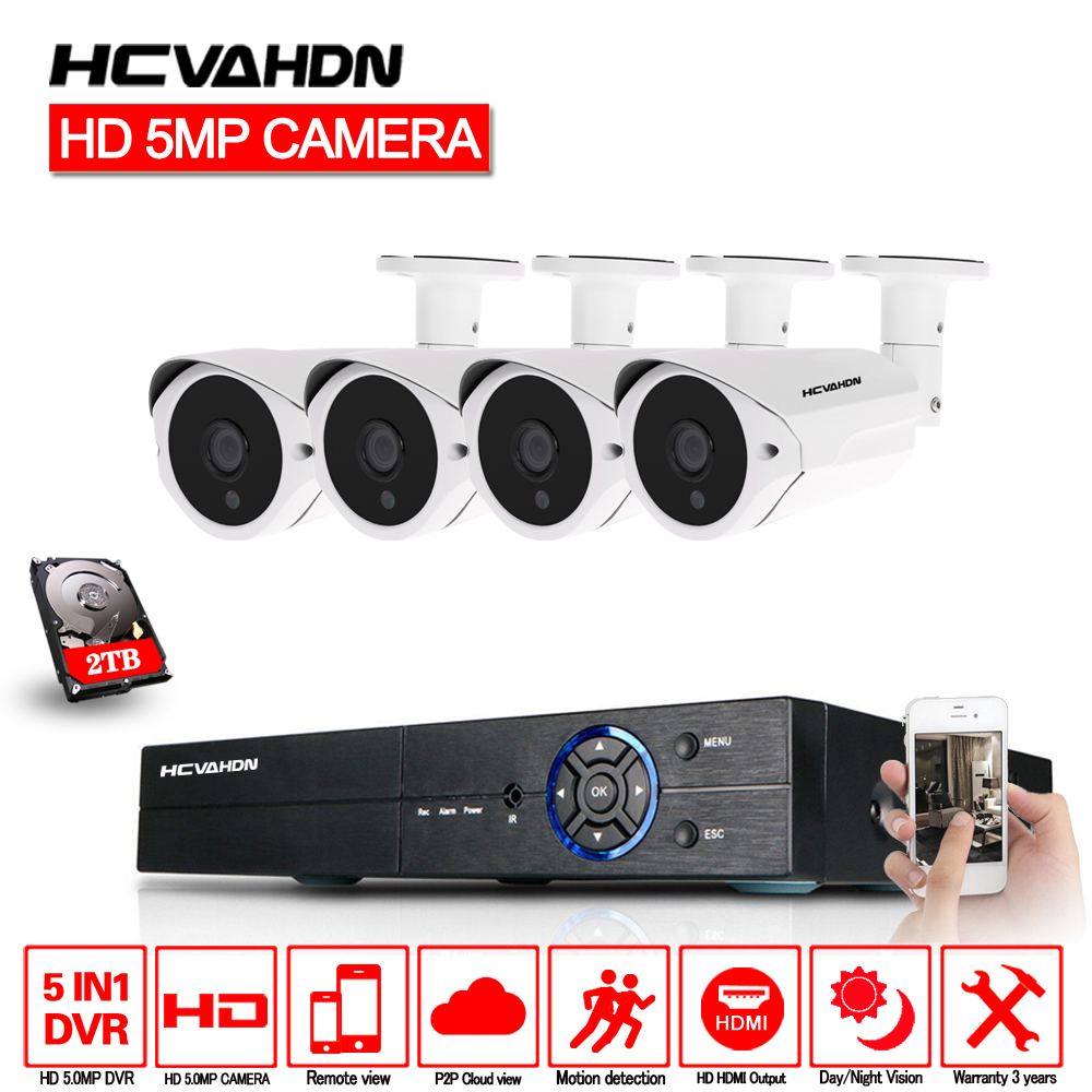 HCVAHDN 5MP CCTV Surveillance Kit Système de Caméra de Sécurité 5.0MP 4CH DVR 5MP Vidéo Sortie Kit 40 m Nuit Vision Caméra HDMI P2P