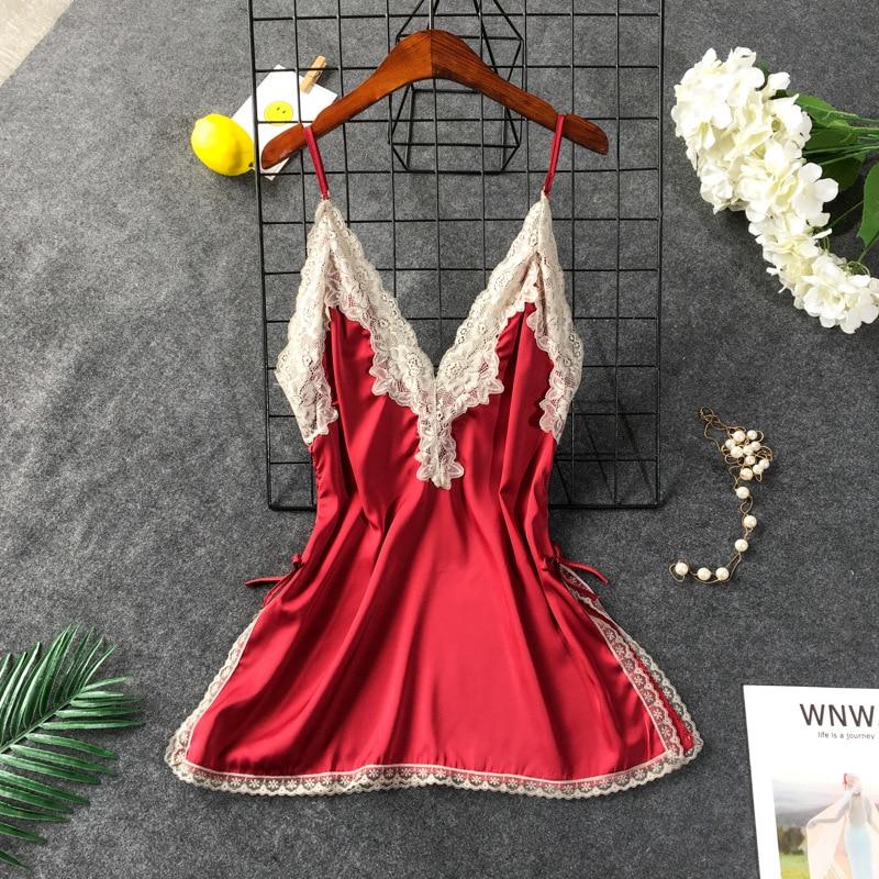 2019 Sexy Women Nightgowns & Sleepshirt Sleepwear Cute Satin Silk Nightdress Female Night Shirts Nightwear Home Clothing