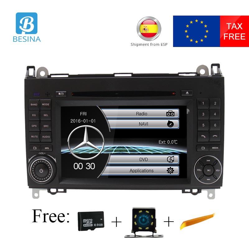 Besina Lecteur DVD de Voiture Pour Mercedes Benz B Classe B200 W169 W245 W639 Viano Vito Sprinter B170 Radio GPS navigation volant