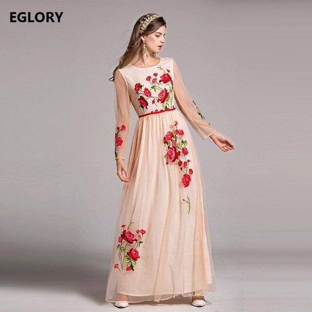7f60abd0e777 XXL Nuevo Vestido Largo 2018 Primavera Verano Fiesta Eventos Mujeres  Exquisito Floral Bordado de Manga Larga