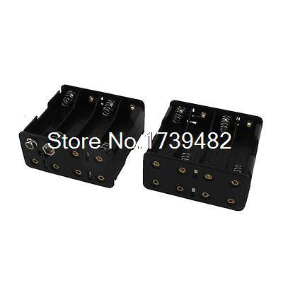 2 Pcs Black Plastic Shell Double Side 8 x 1.5V AA Battery Holder Storage Case cozistyle plastic shell cpsa1310 black