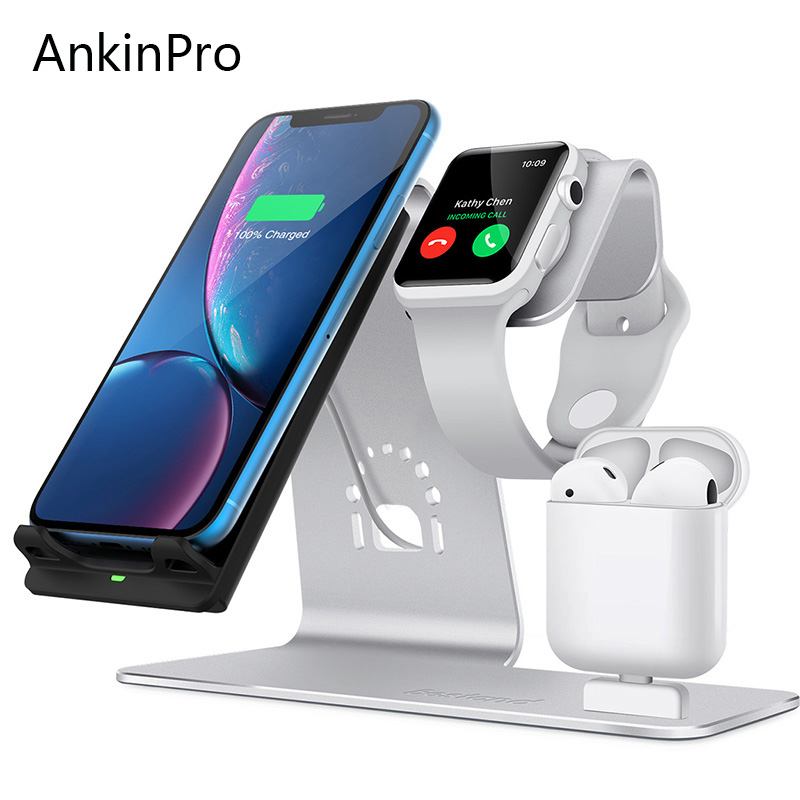 AnkinPro QI chargeur sans fil Charge rapide pour Samsung Apple Watch Airpads iPhone 8 X support de téléphone portable Charge rapide 2.0 3.0