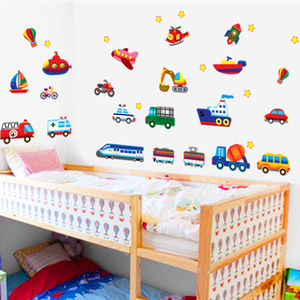 Image 5 - 크리 에이 티브 자동차 비행기 만화 차량 벽 스티커 어린이 방 유치원 장식 스티커 diy 벽 스티커