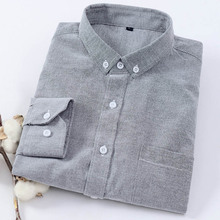 Mens Casual Slim Solid Color Long Sleeve Shirt High quality oxford long sleeve shirt Comfortable Shaped cotton dress
