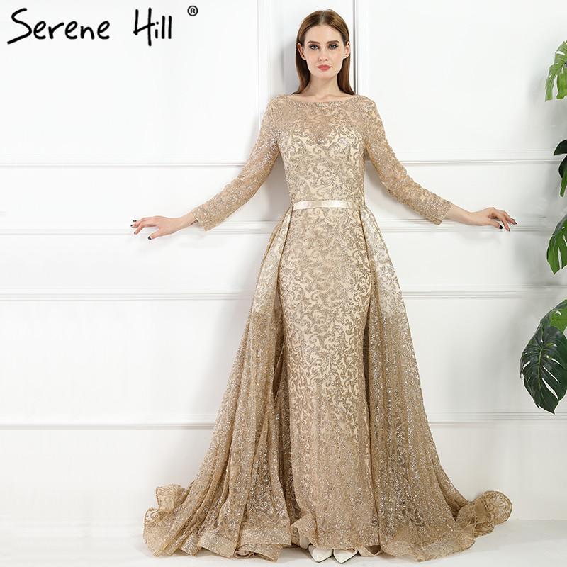 Gold Glitter Long Sleeve Dubai Robe De Soiree Evening Dresses 2018